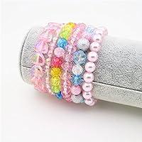 BB-GG 6 Pieces Princess Bracelets,Rainbow Stretchy Bead Bracelets Pink Love Bracelet,Girls Costume Jewelry Set