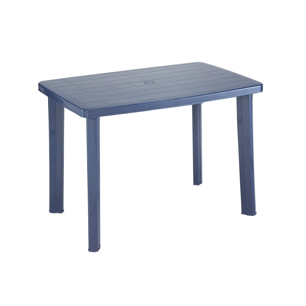 greemotion Plastic Garden Table - Dining Table - Balcony Table with Umbrella Hole - Terrace Table - Camping Table - Weatherproof & Stable, Blue 431120