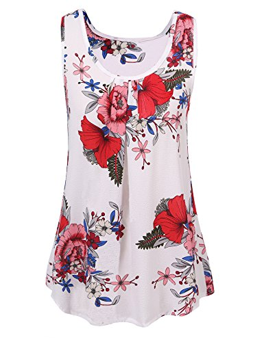 (Art 90s Women's Floral Print Sleeveless Loose Casual Flowy Tunic Tank Top)