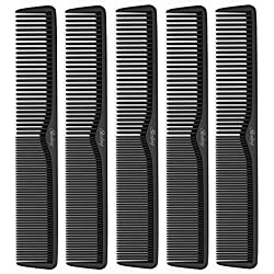 """Sterling Beauty Tools Styling Combs, Professional 7"""" Carbon Fiber Anti Static and Heat Resistant, 5 Piece"""