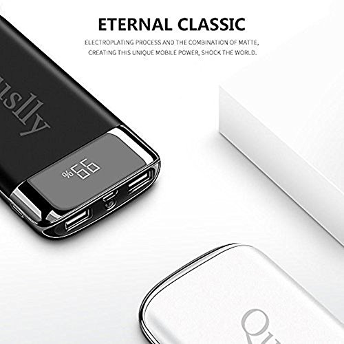 Quslly 20000 mAh mobile or portable power Bank along with 2 USB ports cel charger External battery backup large capacity power supply for iPhoneX 8 7 6s 6 Plus 5s 5 Samsung cel phone iPad and different equipment black External Battery Packs