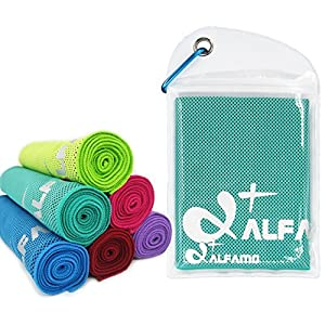 "Instant Cooling Towel, 47""x14"" Extra Large As Scarf - Ultra Soft Breathable Yoga Towel Cooling Rag - Keep Cool for Running Biking Hiking Tennis Golf & All Other Sports"