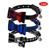 Beirui Cute 3 set Dog Collar Charms Adorable Studded Bowtie - British Style Plaid Adjustable Small Dog Collar with Bell Charm for Puppy and Kitten,1/2'' 8.5-11.5''(22-30cm)