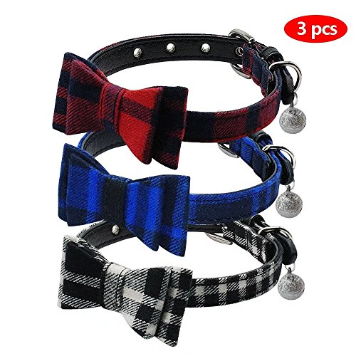 Blue Plaid Leather Dog Collar - Beirui Cute 3 set Dog Collar Charms Adorable Studded Bowtie - British Style Plaid Adjustable Small Dog Collar with Bell Charm for Puppy and Kitten,1/2