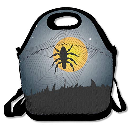 Pattonef Halloween Spider Background Vector Image Insulated Neoprene Lunch Bag Unisex Suitable for Office Workers]()