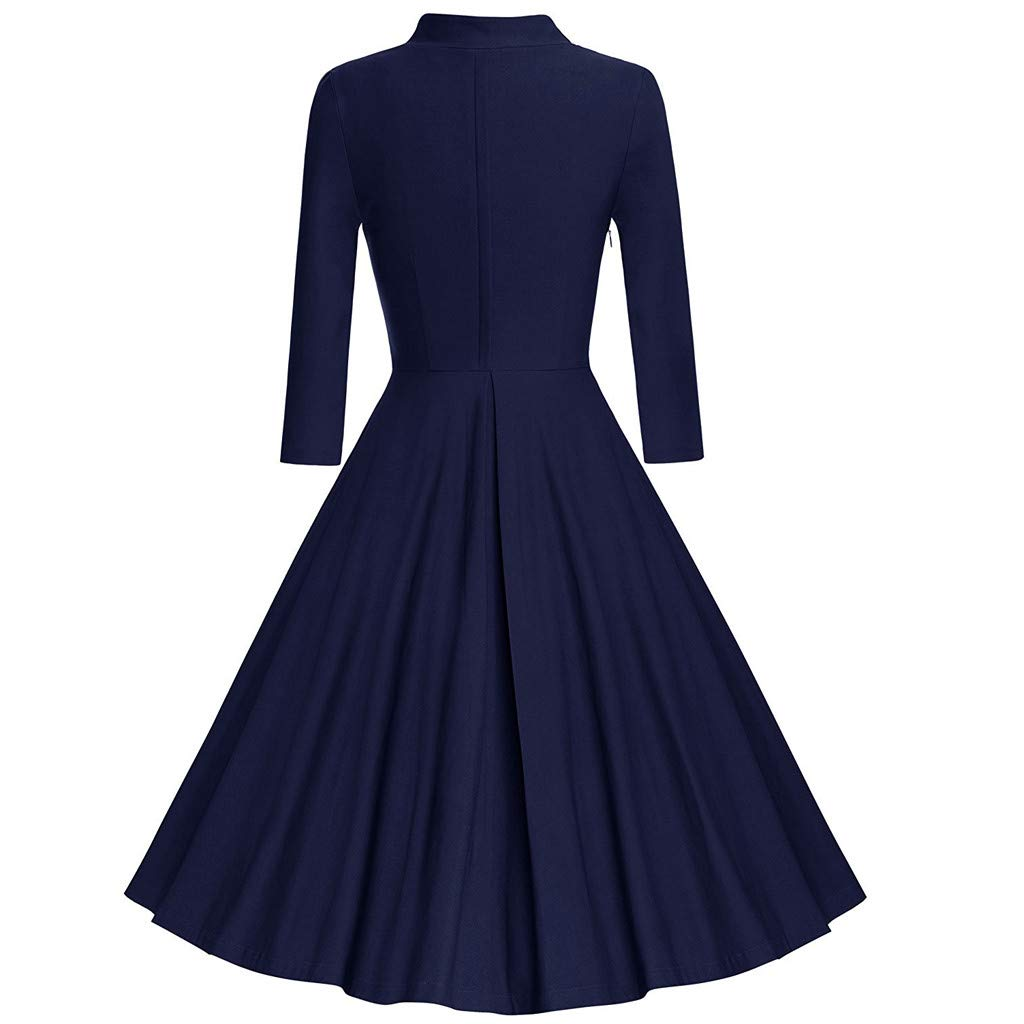 Women's 1950s Retro Vintage 3/4 Sleeve Cocktail Party Swing Dress