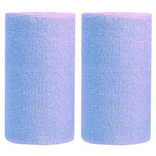 BBOLIVE 6' Inch Wrist Sweatband in 13 Different Neon Colors - Athletic Cotton Terry Cloth - Great for All Outdoor Activity(1 Pair) (Light Blue)