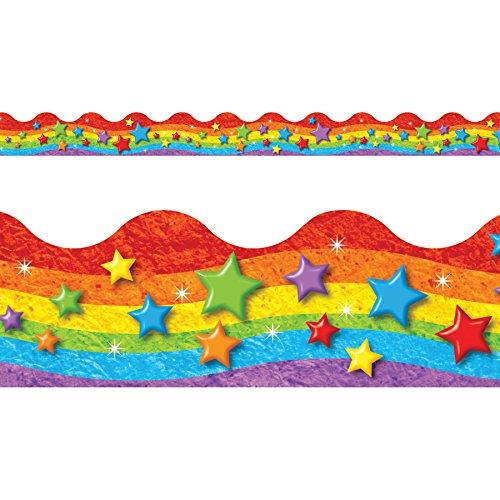(TREND enterprises, Inc. T-92332BN Rainbow & Stars Terrific Trimmers, 39' Per Pack, 12 Packs)