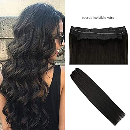 "Ugeat 14"" 35cm Secreto Halo Humano Cabello en Extensiones Color #1B Negro Natural 80g"