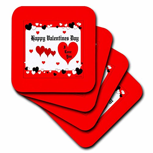 Price comparison product image 3dRose LLC cst_9242_3 Happy Valentines Day Ceramic Tile Coasters,  Set of 4