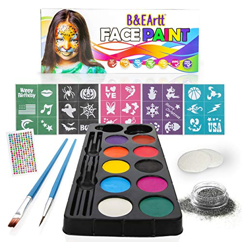 - B&E Artt Face Painting Kit for Kids & Adults | Bonus Rhinestone Stickers | 30 Stencils 2 Brushes 2 Sponge Pads 1 Glitter | Professional Face & Body Paints in 10 Vibrant Colors Safe for Sensitive Skin