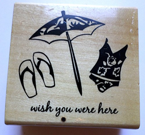 Anita's Summer Beach Wish You Were Here Vacation Theme Wooden Rubber -