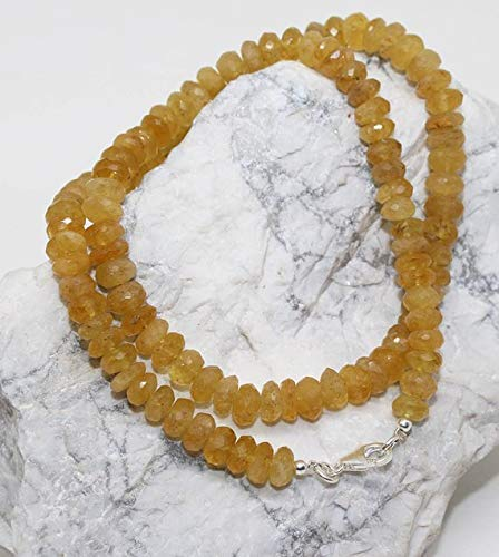 Yellow Aquamarine - Helidor Faceted Roundel Beads Necklace 7-8mm / 18.5 Inch Full Strand Super Quality Beads Necklace/Ready to Wear by Gemswholesale