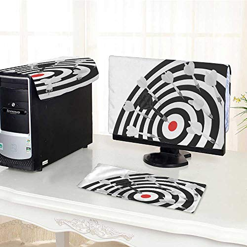 UHOO2018 Desktop Computer Cover 3 Pieces Darts Board with red Center on White Background Scratch Resistance /25