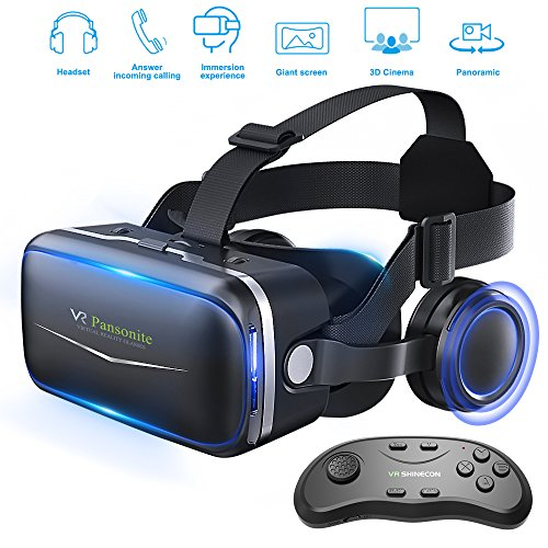 Pansonite Vr Headset with Remote Controller, 3d Glasses Virtual Reality Headset for VR Games & 3D Movies, Eye Care System for iPhone and Android - Virtual On