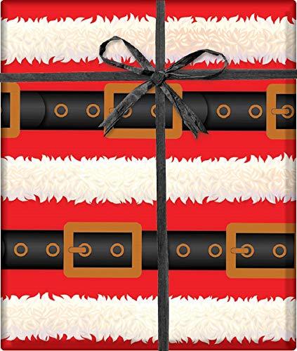 Flat Gift Wrapping Paper (Santa's Belt Holiday Gift Wrapping Paper Flat Sheet - 24