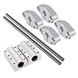 BQLZR OD8 x 200mm Silver Shaft Optical Axis Vertical Ball Bearing Linear Rail Support Set of 10