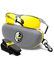 BLUPOND Night Driving Glasses - Semi Polarized Yellow Tint Anti Glare HD Lens Clear Vision - Unbreakable Metal Frame with Car Clip Holder - Knight Visor