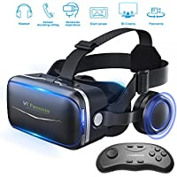 Pansonite Vr Headset with Remote Controller, 3d Glasses Virtual Reality Headset for VR Games & 3D Movies, Eye Care System for iPhone and Android Smartphones