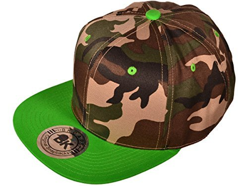 (Wholesale Cotton Flat Bill Blank/Plain Snapback Hats w/ Green Underbill (Camo/Lime Green) - 21099)