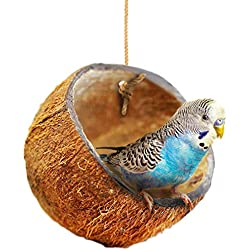 Beautiful Nesting Home and Bird Feeder - Natural Textures Encourage Foot and Beak Exercise - 100% Natural Coconut Husk - Sustainable Materials - Durable Habitat