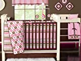 Mod Dots/str Pink/Choc 10 pc Crib Set Bumper free