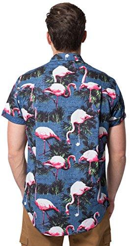 0edf0c7b Brooklyn Athletics Men's Hawaiian Aloha Shirt Vintage Casual Button Down Tee,  Navy/Pink Flamingo