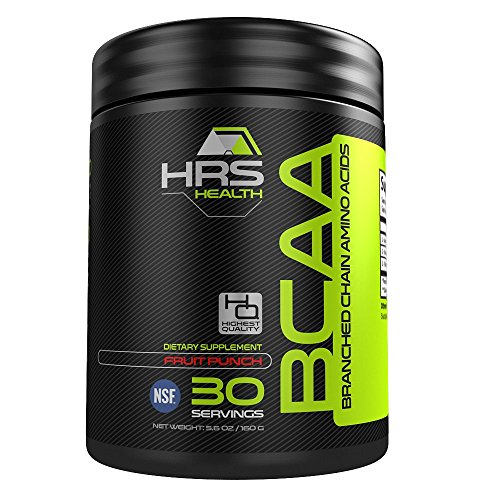 HRS Health Branched Chain Amino Acids Powder - BCAA Powder - Great Fruit Punch Flavor-2:1:1 Ratio-NSF Certified-MADE IN U.S.A.-100% Money Back Guarantee