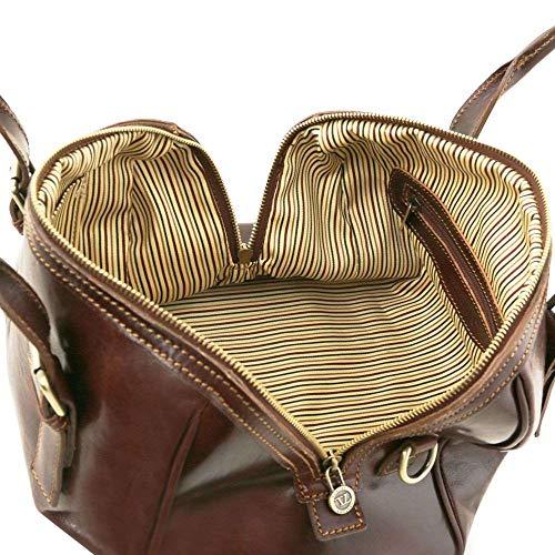 Cuero Marrón Bolso Leather mujer Tuscany de compact TL141714 marrón al para hombro xqBzwYw6a