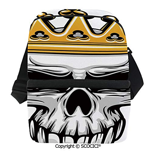(SCOCICI Thermal Insulation Bag Hand Drawn Crowned Skull Cranium with Coronet Tiara Halloween Themed Image Decorative Lunch Bag Organizer for Women Men Girls Work School Office)