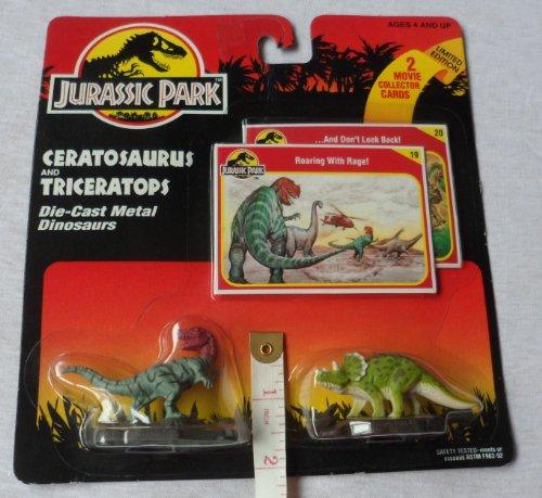 1993 KENNER Jurassic Park CERATOSAURUS & TRICERATOPS Die-Cast Meral Dinosaurs