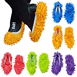 10pcs (5 Pairs) Mop Slippers Shoes Cover, Soft Washable Reusable Microfiber Foot Socks Floor Dust Dirt Hair Cleaner for Bathroom Office Kitchen House Polishing Cleaning