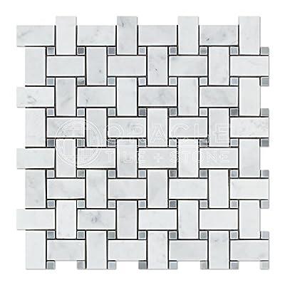 Carrara White Italian (Bianco Carrara) Marble Basketweave and Large Basketweave Mosaic Tile, Honed from Oracle Tile & Stone