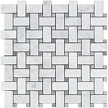 carrara white italian bianco carrara marble basketweave mosaic tile with blue u0026 gray marble