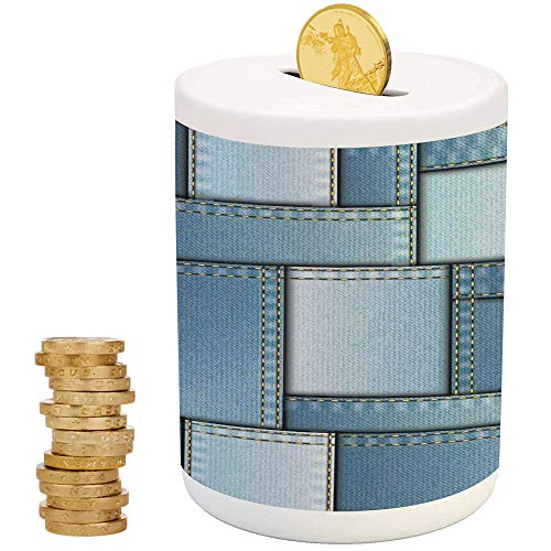 Farmhouse Decor,Ceramic Girls Bank,Printed Ceramic Coin Bank Money Box for Cash Saving,Patchwork of Different Size Denim Fabric Pattern with Vertical Warp Beam Artprint