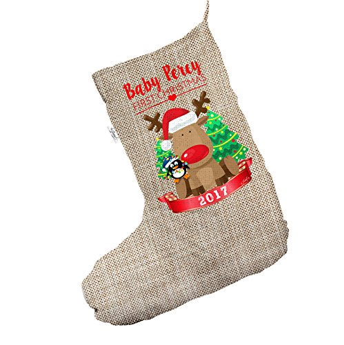 TWISTED ENVY Personalised Baby First Christmas Rudolph Penguin Large Hessian Christmas Stockings Socks (Rudolph Penguin)