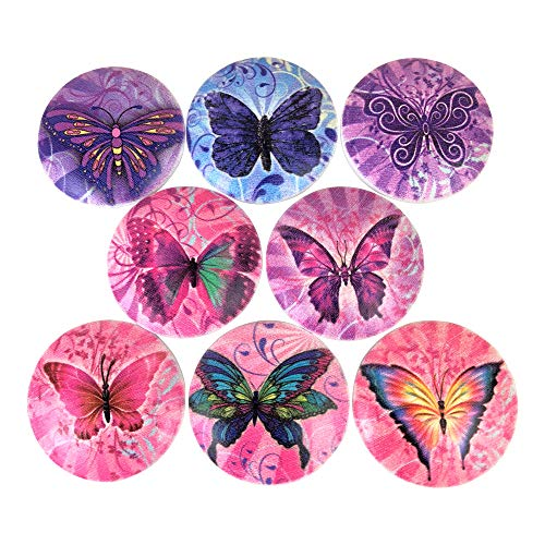 (Set of 8 Pink and Purple Butterfly Wood Cabinet)