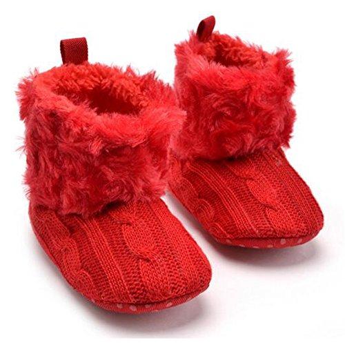 Highdas Babyschuhe Kleinkinder Häkelarbeitknit Fleece Stiefel Kleinkind Mädchen Jungen Wolle Schnee Krippe Schuhe Winter Booties Rot