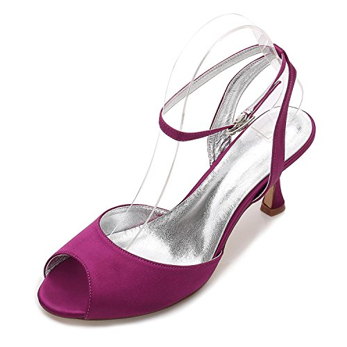 18 E17061 Shoes Tamaño Para Toe Boda Party Strappy Purple Sandalias Low L yc Ladies Nupcial Peep Mujer Heel ZIgxqaXwp