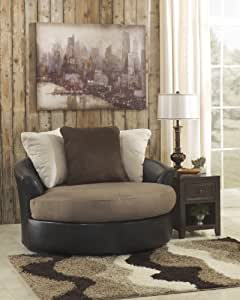 Ashley Masoli Leather Oversized Swivel Accent Chair in Mocha
