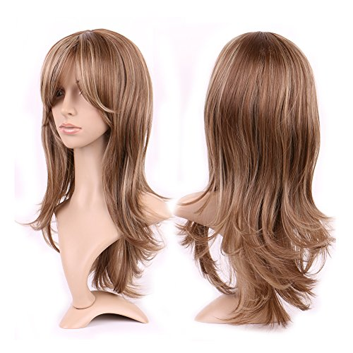 [Long Curly Synthetic Wig with Bang Japanese Kanekalon Fiber 15 Styles Heat Resistant Full Wig Full Head 15.5'' / 15.5 inch for Women Girls Lady,Light brown blonde] (Long Sexy Wigs)