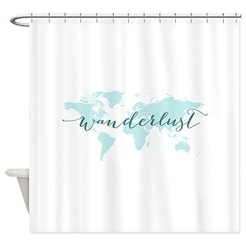 Amazon Com Cafepress Wanderlust Teal World Map Shower Curtain