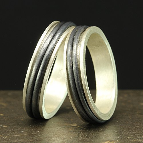 Matching Spinner Ring Set 925 Solid Sterling Silver Oxidized His and Hers Spinning Wedding Band Unisex Stress Meditation Two Tone Bands - FREE Engraving