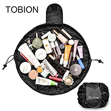 892a878ed4d2 Lazy Portable Makeup Bag Large Capacity Waterproof Drawstring Cosmetic Bag  Travel Makeup Pouch...
