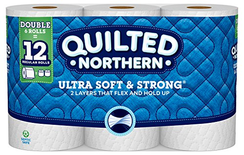 Quilted Northern Ultra Soft & Strong Toilet Paper, 6 Double Rolls, 6 = 12 Regular Bath Tissue Rolls 164 2-Ply Sheets Per Roll