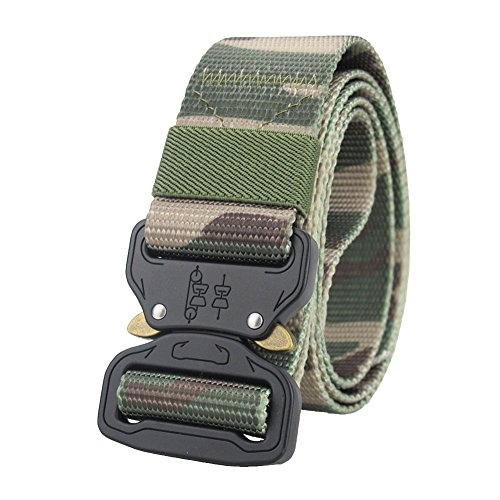 Men's Tactical Nylon Webbing Belt Woodland Camouflage Military Ranger with Utility Heavy Duty Buckle - Woodland Nylon Belt