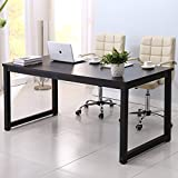 Writing Desk 63in Large Study Computer Table Workstation for Home and Office,Black Wooden Top+Black Metal Leg