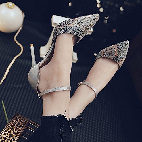 Broderie Chaussures Couleur Femme Un SHOESHAOGE Femmes Pour Boucle Talons unie De Mot 6nRWOWFa