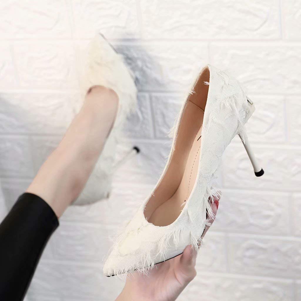 YZ-schuhe Weiße Plüsch-hohe Absätze weibliche Maomao-Schuhe zeigten flachen Mund Stilettschuhe Herbst und Winter reizvolle 10CM einzelne Schuhe