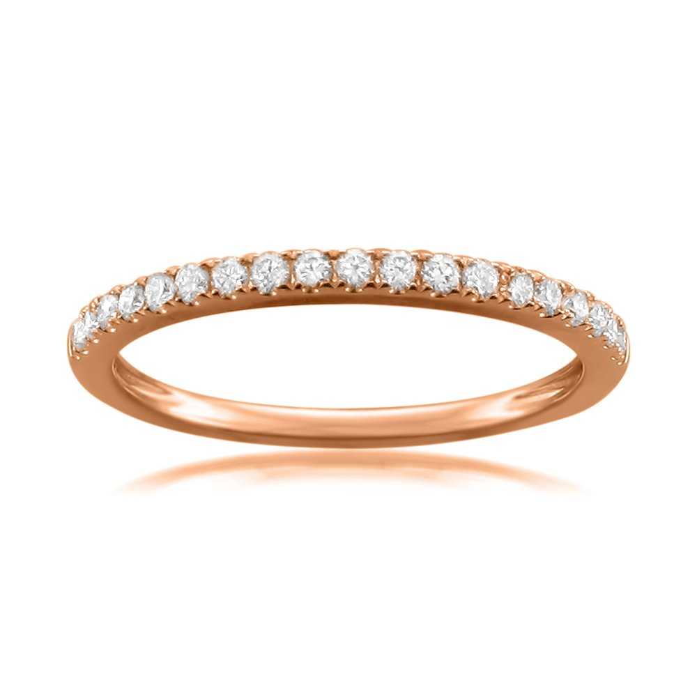 14k Rose Gold Round Diamond Micro-Pave Bridal Wedding Band Ring (1/4 cttw, H-I, VS2-SI1), Size 5